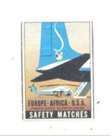 """Etiquette ( Façade ) De Boîte D'allumettes -""""  SABENA """"  Europo - Africa - USA , Avion, Hélicoptère (rmt) - Boites D'allumettes - Etiquettes"""
