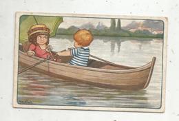 Cp, Illustrateur , Signée A. Bertiglia , Enfants, Ballade En Barque , Ed. Riser , N° 840 ,1917 ,écrite - Bertiglia, A.