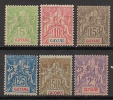 Guyane - 1900-04 - N°Yv. 43 à 48 - Type Groupe - Série Complète - Neuf * / MH VF - Neufs