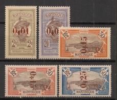Martinique - 1924 - N°Yv. 105 à 110 Sauf 109 - 5 Valeurs Surchargées - Neuf * / MH VF - Martinique (1886-1947)
