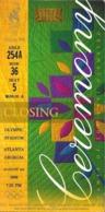 Ticket Olympic, ATLANTA 1996, CLOSING CEREMONY. - Match Tickets