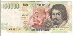 100000 Lire CARAVAGGIO 2° TIPO SERIE A 1994  LOTTO 2917 - [ 2] 1946-… : Republiek
