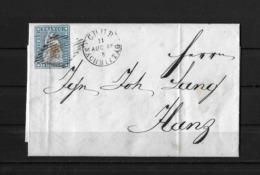 1854-1862 Helvetia (Ungezähnt) → 1856 Brief CHUR (GR) Nach ILANZ (GR)   ►SBK-23B1.II / Grauultramarin◄ - Lettres & Documents