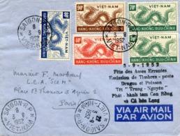 VIETNAM LETTRE AVEC CACHETS BILINGUES ROUGE ET NOIR 3-9-1952 FETE DES AMES ERRANTES EMISSION DE TIMBRES-POSTE DRAGON - Viêt-Nam