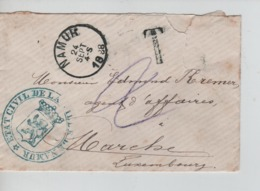 PR7359/ Lettre Format CV Non Affranchie De Etat Civil Ville De Namur C.Namur 24/9/1888 Griffe T Taxée 2 > Marche - Postage Due