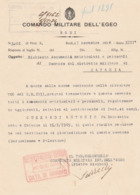 Richiesta Doc. Matricolari - Comando Militare Dell'Egeo - Rodi 1934 - Documenti Storici