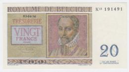 Belgium BELGIQUE 20 Francs 1956 UNC NEUF Pick 132b 132 B - [ 2] 1831-... : Koninkrijk België