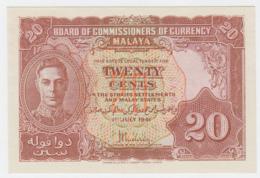 Malaya 20 Cents 1941 (1945) UNC NEUF Pick 9 - Malaysia