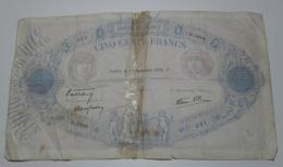 1939 - France - Billet - 500 FRANCS, Bleu Et Rose, Modifié, Paris, Le 28 Septembre 1939. P.  321  Q.3606  9010321 - 1871-1952 Antichi Franchi Circolanti Nel XX Secolo