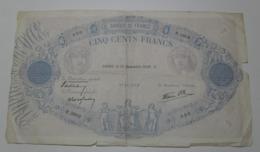 1939 - France - Billet - 500 FRANCS, Bleu Et Rose, Modifié, Paris, Le 21 Décembre 1939. Y.  050  R.3902  97541050 - 1871-1952 Antichi Franchi Circolanti Nel XX Secolo