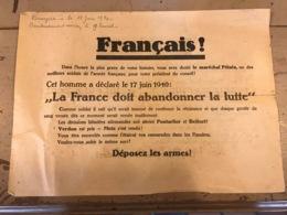 Affiche Français  Déposez Les Armes  1940 Maréchal Pétain - Affiches