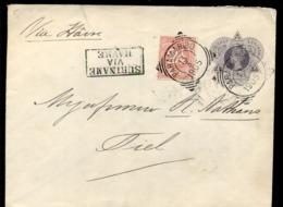 Suriname - 13 3 1905 - Paramaribo - Enveloppe G2 - Via Havre - Met Bijfrankering 2 1/2 Cent - Tiel - 1 APR 05 - Suriname ... - 1975