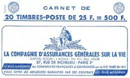 Carnet Marianne De Müller 25F Série S 12.59 Datée - Carnets