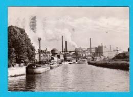 CPSM GF MARCHIENNE : La Sambre Et Complexe Industriel ( Péniches ) Circ. En 1963 - 2 Scans - Péniches