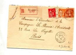Lettre Recommandée Saint Junien Sur Semeuse Paix - Storia Postale