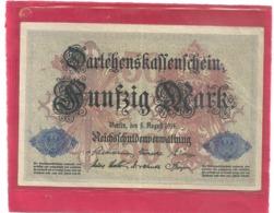 DARLEHENSKASSENSCHEINE .FÜNFZIG ( 50 )  MARK . 5-8-1914 . RED N° K.Nr4971215 . ZWEI SCANES - [13] Bundeskassenschein