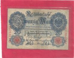 REICHBANKNOTE . 20 MARK . 19-2-1914 . RED N°  Q.1364003 . ZWEI SCANES - [ 3] 1918-1933 : République De Weimar