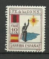 FALANGE ESPAÑOLA DE LAS JONS CADIZ ESPAÑA * - Spanish Civil War Labels