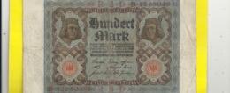 REICHBANKNOTE . 100 MARK . 1-11-1920 . RED N° B.12650395 . ZWEI SCANES - [ 3] 1918-1933 : Repubblica  Di Weimar