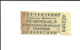 Ticket Ancien. Tramway Électrique VEVEY-MONTREUX-CHILLON. Voir Description - Strassenbahnen