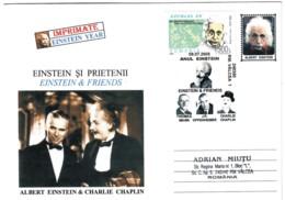 COV 32 - 12 Albert EINSTEIN & Charlie CHAPLIN, Romania - Cover - Used - 2005 - Albert Einstein