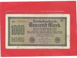 REICHBANKNOTE . 1.000 MARK . 15-9-1922 . RED N° B.195488 . ZWEI SCANES - [ 3] 1918-1933 : Repubblica  Di Weimar