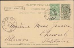 Belgique 1895. Entier Postal, Timbre Complémentaire Identique, Griffe Henri-Chapelle / Verviers à Chemnitz. Splendide - Poststempel