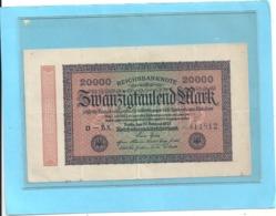 REICHBANKNOTE . 20.000 MARK . 20-2-1923 .  N° 411812 . ZWEI SCANES - [ 3] 1918-1933 : République De Weimar