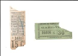 2 Tickets Anciens. Tramways FONTAINEBLEAU. Voir Description - Europe