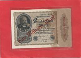 REICHBANKNOTE . 1.000.000 MARK ON 1.000 MARK . SEPT 1923 . OLD DATE 15-12-1922  .  35b-081118 . ETAT LUXE  . ZWEI SCANES - [ 3] 1918-1933 : République De Weimar