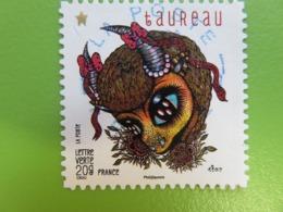 Timbre France YT 942 AA - Féérie Astrologie - Animaux Du Zodiaque Stylisés - Taureau - 2014 - Cachet Rond - Adhésifs (autocollants)