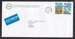 New Zealand: Cover To Netherlands, 1993, 2 Stamps, Dinosaur, Prehistoric Animal, Fastpost Label (left Stamp Damaged) - Nuova Zelanda