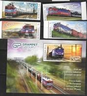 ROMANIA, 2019, MNH, TRAINS, RAILWAYS, GRAMPET GROUP, INDUSTRY, 4v+S/SHEET - Trains