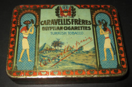Antique Empty Cigarette Tin Caravellis Frères Boîte 25 Cigarettes ROYAL - Turkish Tobacco Egyptian Cigarettes - 5 Scans - Empty Tobacco Boxes
