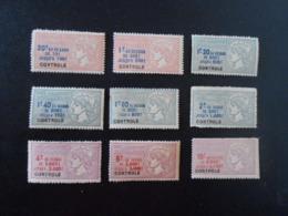 FRANCE  LOT DE 9 TIMBRES FISCAUX TAXE SUR LES PAIEMENTS** - Revenue Stamps