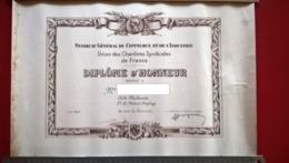 Lot De 4 Diplômes Médaille D'Honneur Du Travail 20 , 25 Et 35 Ans - Aide Machiniste à Société Du Métal Déployé Montbard - Dokumente
