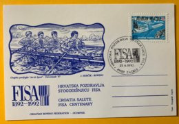 8986 - Carte Centenary FISA 1892-1992 Croatia Salute FISA Centenary Zagreb 25.06.1992 - Roeisport