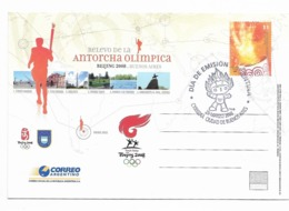ARGENTINA 2008 BEIJING POSTAL STATIONERY FIRST DAY CARD TORCH RELAY OLYMPICS WITH SPECIAL POSTMARK - Interi Postali