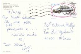 1985 £450 LANCIA THEMA SU CARTOLINA VENEZIA BASILICA DELLA SALUTE - Automobili