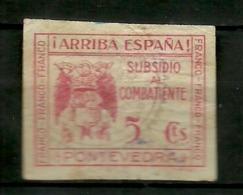 Subsidio Combatiente Pontevedra - Spanish Civil War Labels