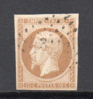 - FRANCE N° 13A Oblitéré Losange PC - 10 C. Bistre Napoléon III Type I 1853 - Cote 20 EUR - - 1853-1860 Napoléon III