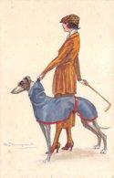 Illustrateur - N°61959 - Bompard S. - Jeune Femme Tenant Un Chien En Laisse - Bompard, S.