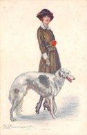 Illustrateur - N°61960 - Bompard S. - Jeune Femme Tenant Un Chien En Laisse - Bompard, S.