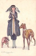 Illustrateur - N°61961 - Bompard S. - Jeune Femme Avec Deux Chiens, Dont Un Bouledogue - Bompard, S.