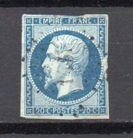 - FRANCE N° 14Am Oblitéré Losange PC - 20 C. Bleu Laiteux S. Vert Napoléon III Type I 1854 - Cote 250 EUR - - 1853-1860 Napoléon III