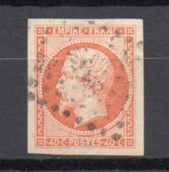 - FRANCE N° 16 Oblitéré Losange PC - 40 C. Orange Napoléon III 1853 - Cote 22 EUR - - 1853-1860 Napoléon III