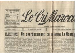 Le Cri Marocain - Casablanca - 20.05.1933 - Affrontement Juifs Vs Arabes à Casa Et Rabat - Hebdo - Journaux - Quotidiens