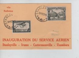 PR7367/ TPA 7-169 S/CP Avion Sabena Service Aérien Stanleyville-Irumu-Costermanville-Usumbura C.Stanleyville 1939 - Congo Belge