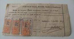 Reçue Folio Charles Rocher Notaire à Casablanca Maroc 1939 WWII Timbre Notaire - Documenti