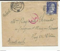 LETTRE  ENVOYEE EN 1944  PAR UN TRAVAILLEUR CIVIL EN ALLEMAGNE  DE   FRANKFURT A PIONSAT CREUSE - Germany